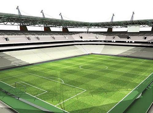 球场的设计灵感来 源于当地的猴面包树,球场三面露天,另一面由钢结构