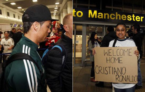 周日晚,皇家马德里队抵达英国曼彻斯特,他们将在周二晚(北京时间周三凌晨03:45)老特拉福德球场迎来欧冠1/8决赛次回合对曼联的比赛。这是葡萄牙球星克里斯蒂亚诺-罗纳尔多转会皇马之后首次回到老特拉福德球场比赛。   皇马一行在当地时间周日晚抵达,受到了球迷们的欢迎。一些皇马球迷前来迎接,还有穿着当年C罗在曼联时的球衣来的曼联球迷,有的球迷打出欢迎回家的标语。这是C罗自2009年以9600万欧元转会费(8000万英镑)从曼联转会到皇马之后,首次将回到老特拉福德球场进行比赛。   欢迎回家,克里斯蒂亚诺