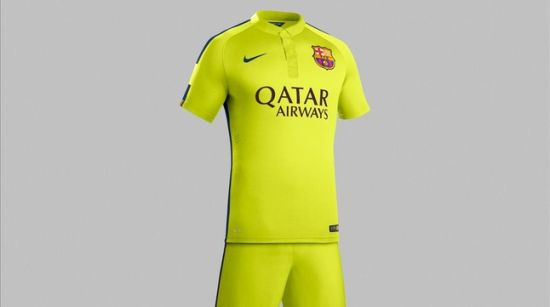 巴萨发布战巴黎新客场球衣 两种黄色交织有荧