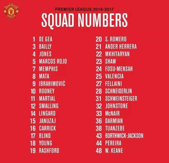 曼联公布新赛季球衣号码 9号伊布.