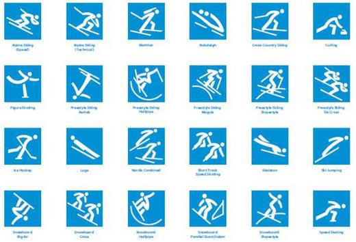 体育图标代表整个冬奥会各比赛项目,这些符号将让观众容易识别各个比赛项目。 平昌冬奥会组委会委员长李熙范表示:体育图标是奥运会的一个重要组成部分,我相信我们的设计部门已设计到完美的形象,使观众容易识别,同时还具有韩国特色,因为我们将韩语独特的字母表集成到体育图标。